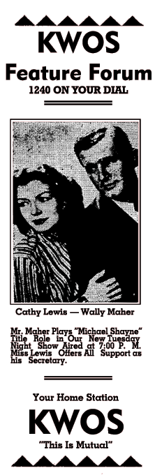 Michael Shayne spot ad from Nov. 10, 1946 featuring both Cathy Lewis and Wally Maher