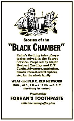 Early Stories of the Black Chamber Advertisement circa 1935