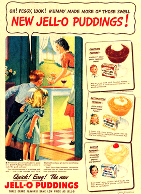 New Jell-O puddings circa 1939