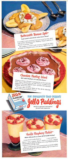 Jell-O puddings for Fabulously Good Desserts circa 1948