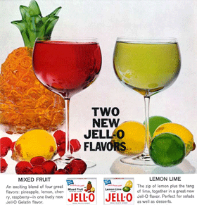 Two new Jell-O flavors for 1963 -- Mixed Fruit and Lemon-Lime