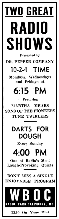 10-2-4 Time and Darts for Dough spot ad from Nov 22 1944