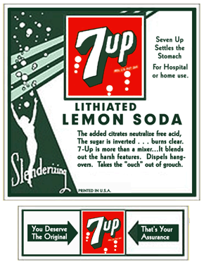 The Seven Up Company's Lithiated Lemon Soda Labels
