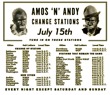 """Amos 'N' Andy"" Station Change Announcement, circa 1935 thumb"