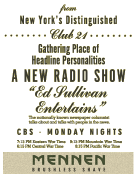 "Mennen ""Ed Sullivan Entertains"" ad listing, circa 1943 thumb"