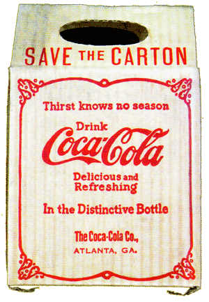 ''Save The Carton'' with Coca-Cola's 'Thirst Knows No Season' slogan -- The First 6-Pack carton of Coca-Cola circa 1903
