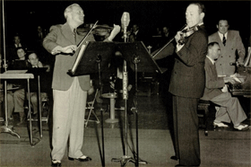 Jascha Heifetz (right) and Jack Benny