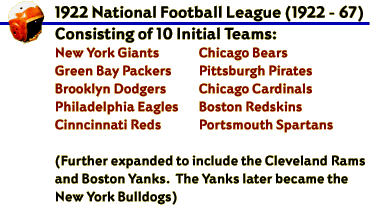 The 1922 National Football League (1922-1967) Consisting of Ten Initial Teams