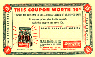 10 cent coupon for Dr Pepper six-pack, circa 1955