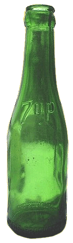 Traditional green glass 7Up bottle