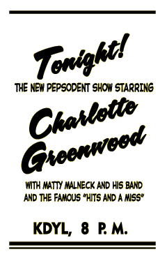 Charlotte Greenwood spot ad from June 20 1944